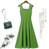 牛油果绿连衣裙中长款夏装小清新收腰豆绿裙子森女抹茶绿色吊带裙