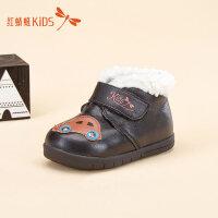 【1件2折后:44.6元】红蜻蜓童鞋冬款韩版皮面男童加绒加厚保暖魔术贴儿童小皮鞋