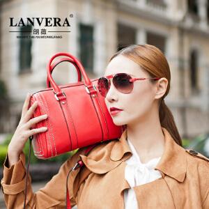 【支持礼品卡】LANVERA 夏季新款女包 欧美时尚真皮单肩手提包柳钉头层牛皮枕头包 L2026