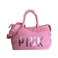 防水pink亮片健身包短途旅行包女士手提包运动包大容量潮男行李袋