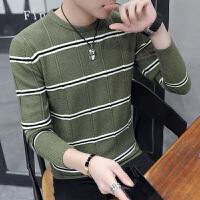 男士针织衫长袖韩版潮流2018新款纯棉打底衫男春秋季条纹毛衣男装