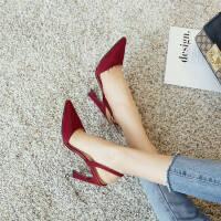 新款韩版酒红色猫跟绑带一字扣高跟凉鞋女夏季细跟尖头包头鞋