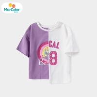 【1件4折】马卡乐童装22夏新款儿童女童撞色拼接印花时尚舒适圆领短袖T恤