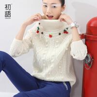 初语冬季新品文艺甜美学生高领套头长袖草莓钩花宽松打底毛衣8540423061