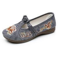 春秋汉服鞋子民族古风女鞋绣花鞋布鞋复古老北京布鞋妈妈鞋舞蹈鞋