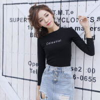 长袖T恤女装2019秋冬季修身韩版上衣服短款时尚打底衫 黑色 字母Celestial
