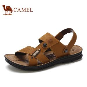 骆驼牌 男凉鞋 新品露趾舒适透气沙滩鞋牛皮休闲男凉鞋