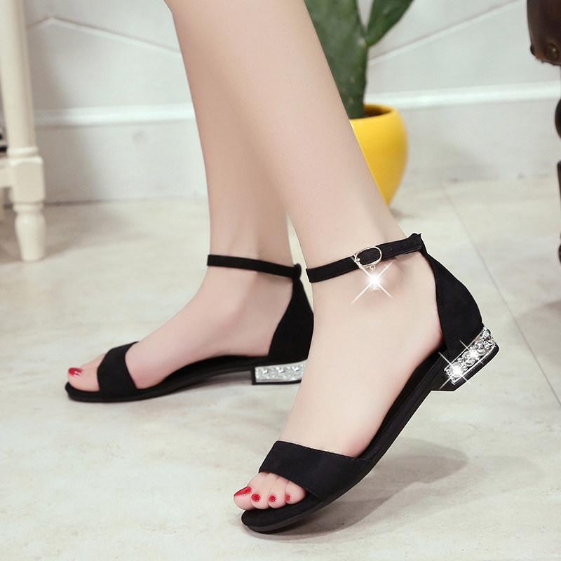 夏季新款平底低跟平跟包跟女凉鞋脚腕绑带舒适女鞋孕妇学生鞋 黑色