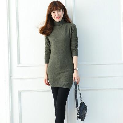 过年穿的美女穿的毛衣高领羊绒衫女中长款羊绒套头修身针织打底衫纯色大码