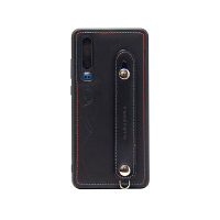 华为P30手机壳真皮手机套支架硅胶防摔P30pro头层牛皮保护套 华为P30 黑色 (6.1寸)