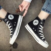 幸运叶子 经典款帆布鞋休闲鞋男女鞋情侣鞋黑色高帮帆布鞋板鞋T16202