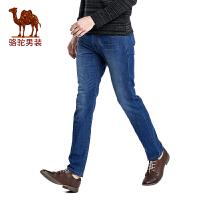 骆驼男装合身长裤子 新品男士商务休闲拉链中腰牛仔裤男