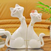 瓷元素 创意结婚礼物创意陶瓷工艺品情侣对猫新婚庆礼品摆设 家居摆件装饰品