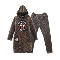 睡衣男士冬季珊瑚绒三层夹棉袄保暖家居服秋冬款可外穿女