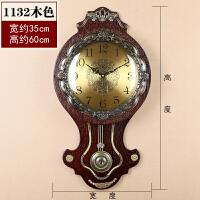 欧式挂钟客厅时尚创意个性钟表简约静音石英仿古卧室摇摆石英时钟 14英寸