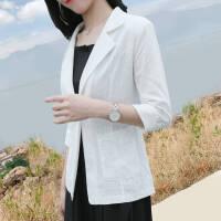 显瘦小西装外套女休闲2019夏季韩版修身七分袖薄款西服女 S 建议80-95斤