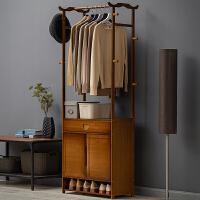 淘之良品简易衣帽架实木卧室落地挂衣架柜子简约现代衣服包置物家用