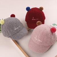 婴儿帽子秋 男宝宝 6-12个月秋冬女宝宝可爱球球鸭舌帽韩版潮遮阳