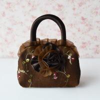 蕾丝绣花刺绣女包迷你小手提包布艺包包手拎手拿手机零钱包帆布包