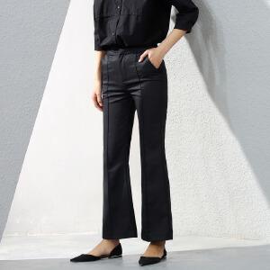 Amii[极简主义]秋装新款时尚修身微喇叭西装裤女大码