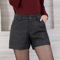 卡茗语韩版显瘦毛呢格子短裤女秋冬外穿打底靴裤子
