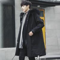 冬装男士帅气大毛领外套冬季棉衣中长款加厚连帽韩版潮流棉袄