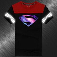 超人T恤电影周边短袖男士反光原宿风星空学生衣服