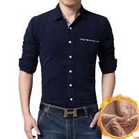 新款秋冬男衬衫加绒加厚长袖灯芯绒拼色衬衫男