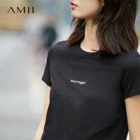 Amii[极简主义]春新品气质休闲修身显瘦百搭字母logoT恤11761574