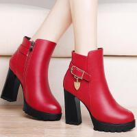 古奇天伦粗跟马丁靴英伦风短靴女鞋秋冬季新款高跟女靴子加绒