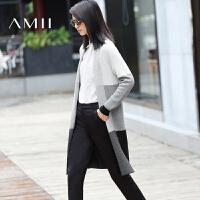 【AMII 超级品牌日】AMII[极简主义] 秋冬新款撞色中长款长袖毛衣外套女11672564