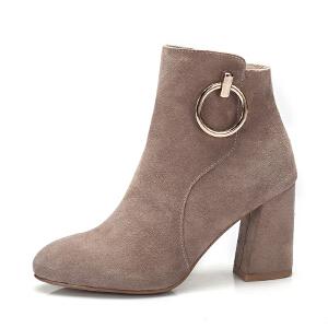 camel骆驼女鞋 秋冬新款 金属圆环装饰时尚尖头短筒靴子 高跟女靴