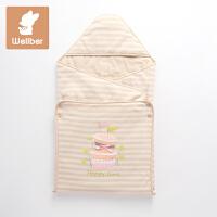 威尔贝鲁(WELLBER)新生儿抱被春秋婴儿被薄棉包布盖毯宝宝包巾小孩襁褓