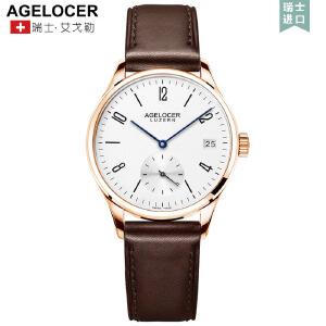 艾戈勒手表女休闲机械表全自动真皮防水女表皮带简约腕表
