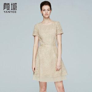 颜域品牌女装2017夏季新款欧美知性优雅纯色拼接蕾丝连衣裙女夏