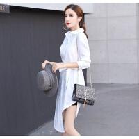 防晒衬衫女韩版宽松中长款bf白色衬衣女长袖衬衫裙