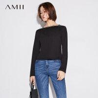 Amii[极简主义] 2017秋装新修身显瘦方领拼接织带长袖T恤11763965