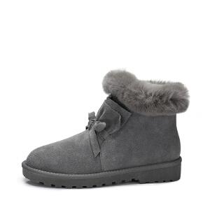 camel骆驼女鞋 2017秋冬新款 裙边蝴蝶结保暖雪地靴平跟兔毛短筒女靴子