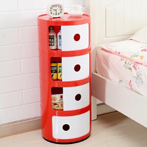 床头柜  现代简约家用塑料圆形储物柜卧室宿舍边角柜简约现代多功能收纳柜迷你柜子 创意家具