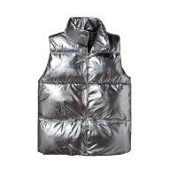 太空银色情侣立领马甲男女秋冬季新款坎肩潮流保暖面包服外套