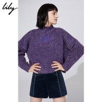 【超品日秒杀价149元】 Lily春新款女装撞色字母刺绣直筒毛衣毛针织衫118430B8749