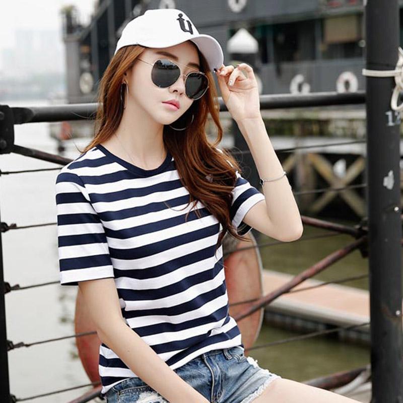 夏装新款宽松韩版条纹短袖t恤女上衣外穿休闲打底半袖体恤