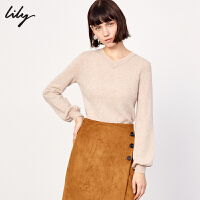 Lily春新款女装纯色全绵羊毛V领套头毛针织衫118440B8C28