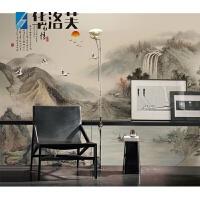 中式电视背景墙贴简约现代装饰卧室客厅无缝影视墙布大气山水壁画G