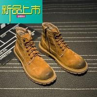 新品上市冬季马丁靴男真皮男靴中帮韩版短靴雪地靴男士高帮男鞋大黄靴加绒