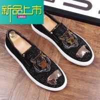 新品上市潮牌鞋男韩版老虎头板鞋个性豆豆鞋型师内增高百搭休闲鞋子