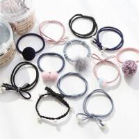 韩版新款毛球珍珠发绳套装发圈头绳扎头发橡皮筋罐装组合发饰