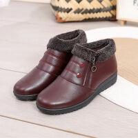 2018新款冬妈妈棉鞋女鞋中老年皮鞋加绒保暖老北京雪地靴短靴 A66红色 35