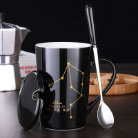 创意早餐杯子陶瓷马克杯带盖勺个性潮流喝水杯家用咖啡杯男女茶杯