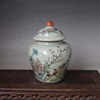 清同治粉彩花鸟将军盖罐 古玩老货 复古茶叶罐 仿古瓷器古董收藏